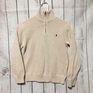 Polo Ralph Lauren 1/4 Zip Beige Sweater Boys 10